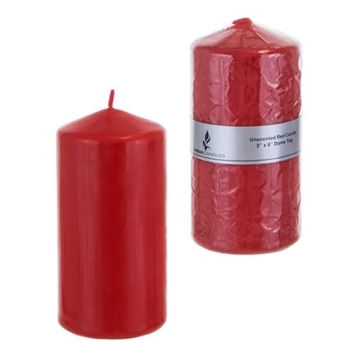 """3"""" x 6"""" Domed Top Press Unscented Pillar Candle in Shrink Wrap - Red"""