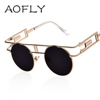 AOFLY Fashion Metal Frame Steampunk Sunglasses Women Brand Designer Unique Men Gothic Sun glasses Vintage Oculos De Sol Feminino