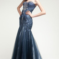 KC14507 Jeweled Prom Dress in Navy Blue by Kari Chang Couture