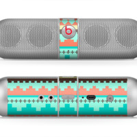 The Teal & Gold Tribal Ethic Geometric Pattern Skin for the Beats by Dre Pill Bluetooth Speaker