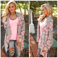 New Women's Winter Irregular Floral Print Loose Knitted Cardigan [8833537868]