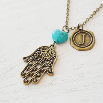 hamsa hand karma necklace,lucky symbol,religion spiritual gift,evil eye long necklace,protection,hand of fatimah,friend gift,yoga jewelry