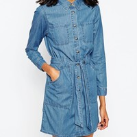ASOS Denim Belted Shirt Dress in Retro Blue Wash