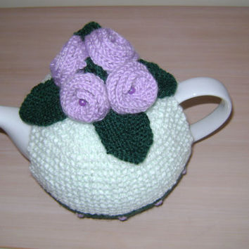 Hand knitted tea cosy with flowers and leaves decoration, teapot cozy by jacksknits reduced price