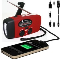 Ambient Weather WR-089 Compact Emergency Solar Hand Crank AM/FM/NOAA Weather Radio, Flashlight, Smart Phone Charger with Cables
