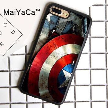 MaiYaCa Captain American Shield Print Soft Rubber Cover For iPhone 8 Plus Case For Apple iPhone 8plus Phone Cases Shell