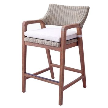 Shiloh Rattan Counter Stool Greige Gray