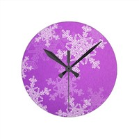 Purple Snowflakes Christmas Wall Clock