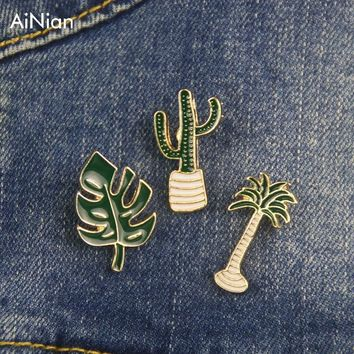 Trendy AiNian Simple Cartoon Green Plant Coconut Tree Mexican Cactus Leaf Metal Brooch Pins Diy Button Pin Denim Jacket Pin Badge Gift AT_94_13