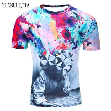 2017 Newest galaxy space printed creative cat 3d t shirt men's thinkers/novelty/pizza cat/tree 3D tee tops clothes