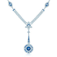 Tiffany & Co. - Necklace of unenhanced Montana sapphires and diamonds in platinum.