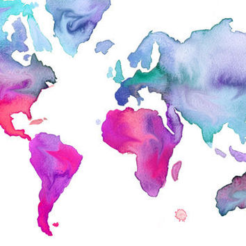 Print from original watercolor map illustration by Jessica Durrant, titled World Map No. 7