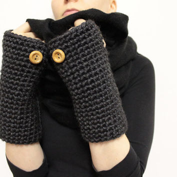 Chunky Wrist Warmers, Charcoal Open Gloves, Crochet Mittens, Bulky Texting Gloves, Fingerless Mittens, Hand Warmers, Wool Open Mittens