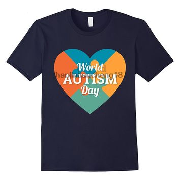 Wold Autism Day Puzzle Heart Awareness T-Shirt Tee