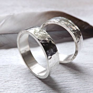 hammered wedding ring set two silver rings rustic wedding rings 5mm or 6mm modern shape band handmade ring set