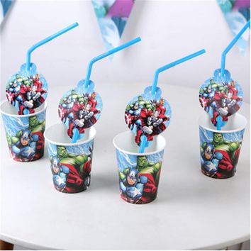 20pcs Straw Avengers Party Supplies Party Decoration Disposable Straws Cups Super Hero Birthday Avenger Decoration Party Favors
