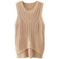 Sleeveless Knitted Pullover Sweater