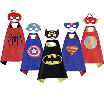 LansKids Comics Cartoon Heros Dress Up Costumes 5 Satin Capes with Felt Masks 5pcs