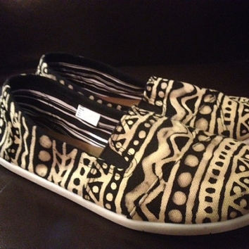Custom Sized Hand Bleached Aztec Print Toms Style Shoes - Free Shipping