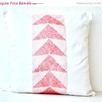 Valentine SALE Ivory white throw pillows with aqua pink geometric embroidery - Decorative pillow cover- Cushion cover zipper - Throw pillow