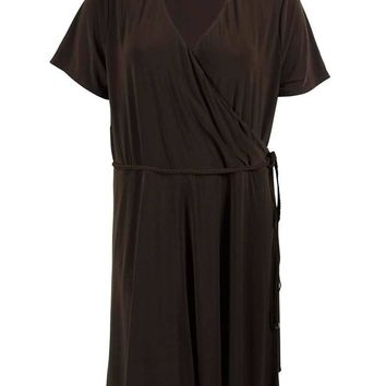 Lauren Ralph Lauren Women's 3/4 Sleeve Faux Wrap Dress