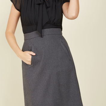 Aptitude for Anthropology Skirt in Charcoal | Mod Retro Vintage Skirts | ModCloth.com