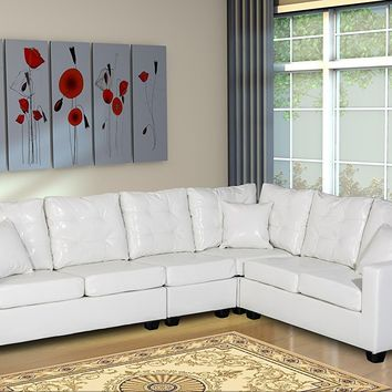 New Century® Leather Upholstered Adjustable Large Sectional Sofa, White