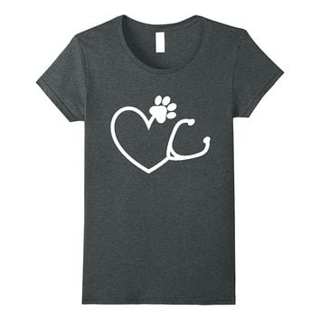 Veterinarian Heart Stethoscope Animal Lover Shirt Vet Gifts