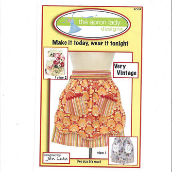 Apron Lady Designs 504 Pattern for Very Vintage Aprons, Design by Jan Lutz, 2 Styles, From 2007, Home Sewing Pattern, Kitchen Apron Pattern