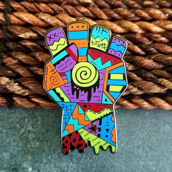 Areh Hunter S Thompson Gonzo Fist Abstract Limited Edition Original Art Pin