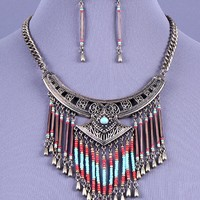 Tribal Inspired Dangling Beads Necklace Set