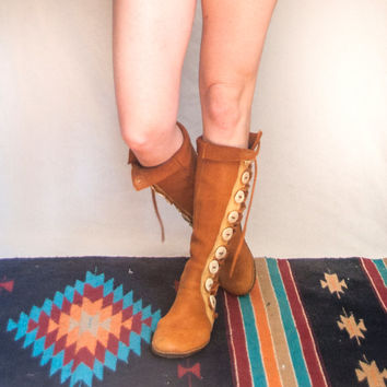 RARE Genuine Leather Tribal Handmade Moccasin Boots Size 6, 6.5, 7 | Real Native American Moccasins Deerskin Leather Lace-Up Knee-High Boots