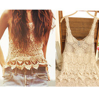 Lace Crop Top Cropped Women 2016 Sexy T-shirts Women Blusa Hollow Out Lace Crochet Tank Top Tee Shirts Female Camisole Vest Cami