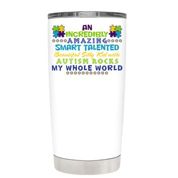 TREK An Amazing Smart Talented Kid with Autism on White 20 oz Tumbler Cup