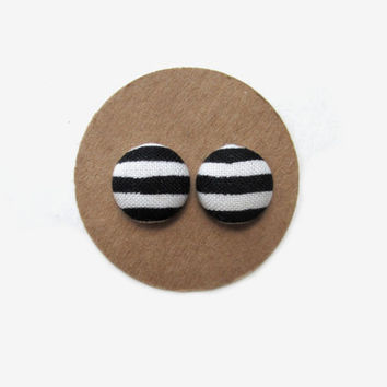 Black and White Striped Button Earrings // Black and White // Monochrome // Classic Black White // Black White Theme // Striped Earrings //