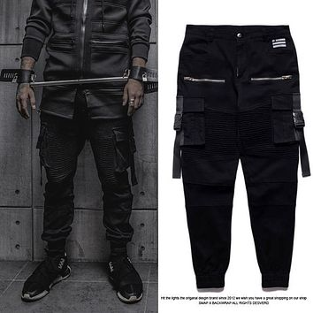 High Quality Cool Biker Joggers Pants Fashion Men Hip hop Black Star Kanye West Tyga Skinny Slim Fit Designer Brand Swag Pants