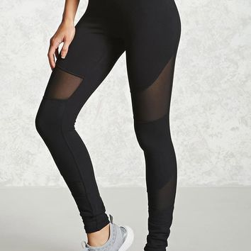 Active Mesh-Paneled Leggings - Women - Activewear - 2000239737 - Forever 21 Canada English