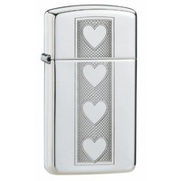 Zippo 28476 Heart Lighter Slim High Polish Chrome