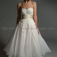 Tea Length Empire Wedding Dress