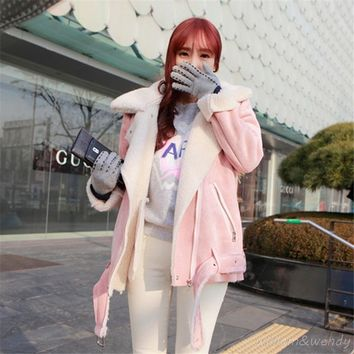 2017 Fashion Women Winter Warm Woolen Coat Cheap Chinese Pink Suede Quilted Jacket Fur Collar Palto Elegant Korean Cute Cloak