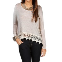 Sale-oatmeal Crochet Long Sleeve Top