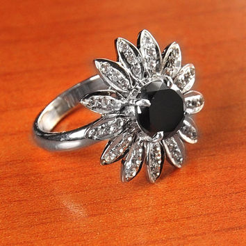 2.5 ct Black Diamond Solitaire Cocktail Ring with Rose Cut Diamonds Available In All Sizes