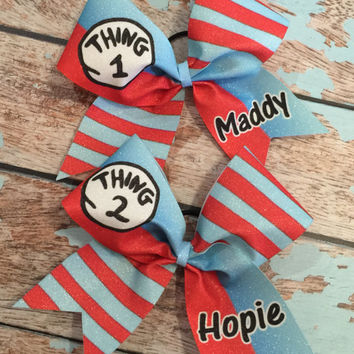 Thing 1 Thing 2 set Cheer bows Personalized