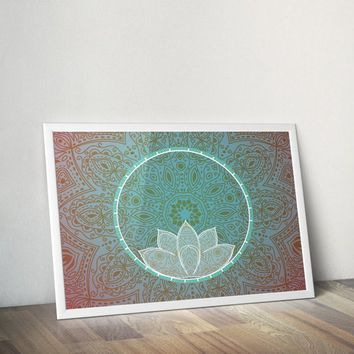 Lotus Mandala Lotus Poster Bohemian Art Print Poster With White Lotus Flower Design no frame 20x30 Large