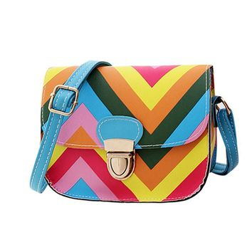 Charming Nice OCARDIAN Best Gift OCARDIAN New Fashion Women Leather Shoulder Rainbow Chain Of Small Square Package bag