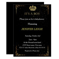 Golden Crown Baby boy shower invitation