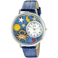 SheilaShrubs.com: Unisex Cancer Royal Blue Leather Watch U-1810004 by Whimsical Watches: Watches