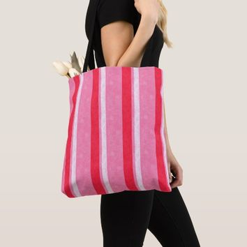 Pink Stripes Grunge Design All-Over-Print Tote Bag
