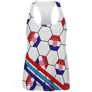 World Cup Croatia Soccer Ball All Over Womens Work Out Tank Top