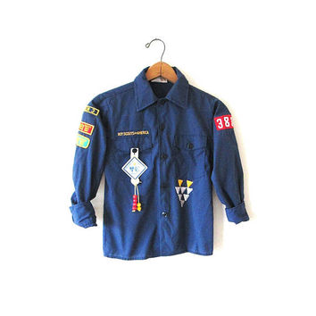 Vintage 1980s BOY SCOUTS of America Merit BADGE Patched Button Down Shirt Kids Sz 10